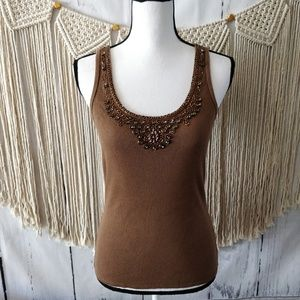 4/$25 Laundry Ribbed Brown Beaded Tank Top L
